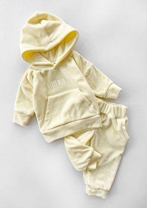 Welurowe dziecięce spodnie w kolorze Bananowym