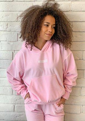 Damska welurowa bluza z kapturem w kolorze Pink ILM