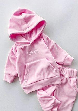 Welurowa dziecięca bluza w kolorze Pink