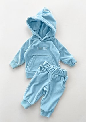 Welurowe dziecięce spodnie w kolorze błękitnym ILM