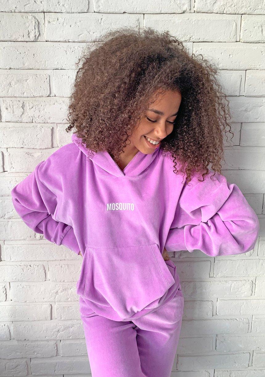 Dasmka welurowa bluza w kolorze Lila