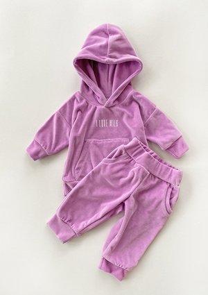 Welurowe dziecięce spodnie w kolorze Lila