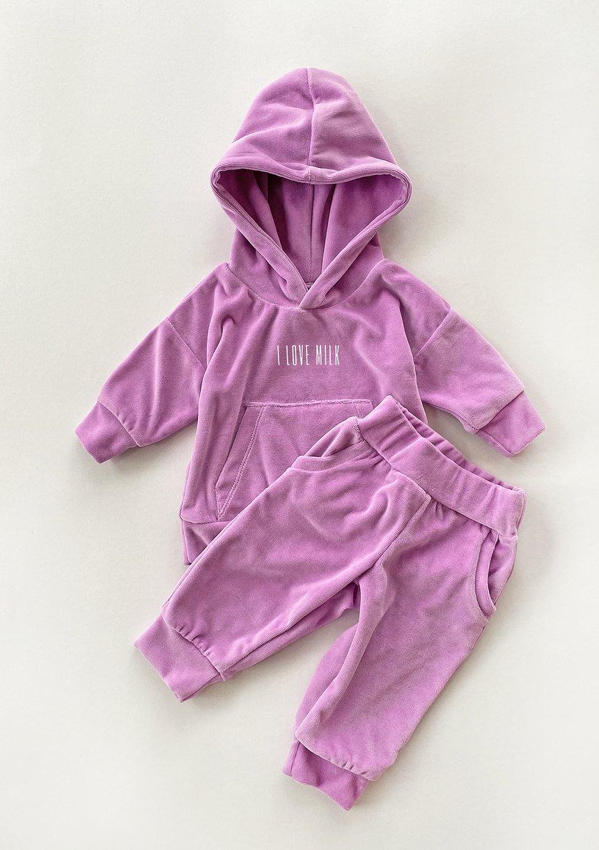 Welurowa dziecięca bluza z kapturem w kolorze Lila