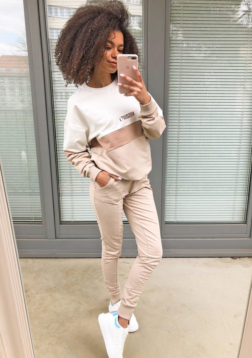 Spodnie damskie bawełniane pastel Beżowe ILM
