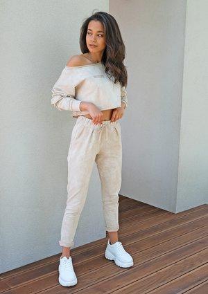 Damskie spodnie z efektem sprania Beżowe ILM