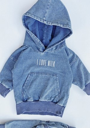 Bluza dziecięca z kapturem z bawełny denim