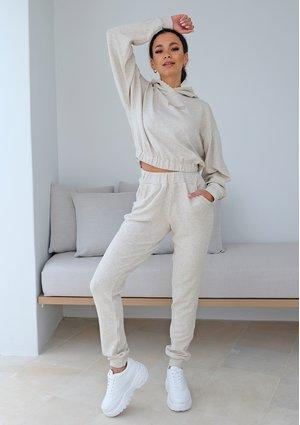 Damskie spodnie z dzianiny z lnem ILM