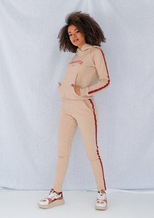 Spodnie damskie z lampasem red Beżowe ILM