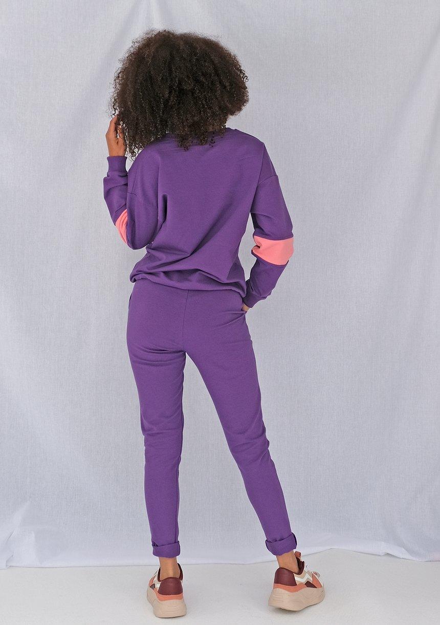 Klasyczne damskie spodnie dresowe Fioletowe ILM