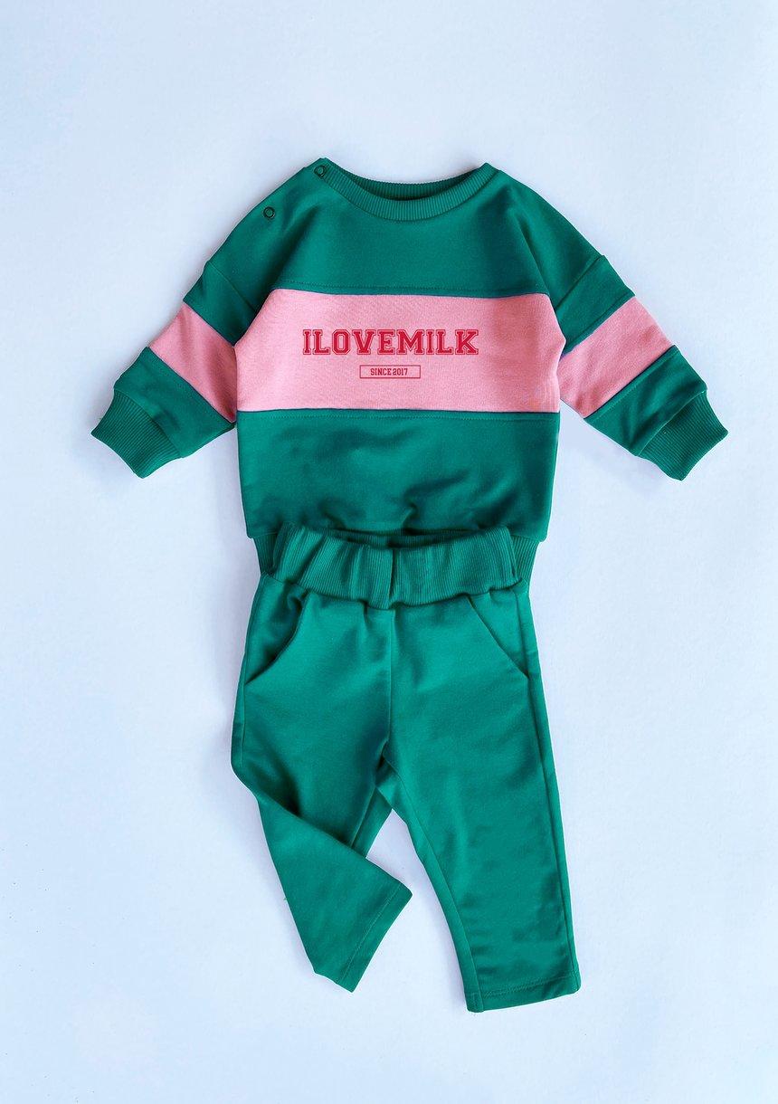 Bluza dziecięca ze wstawką red logo Zielona