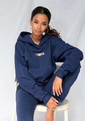 Bluza damska z kieszenią i kapturem Monaco Navy ILM
