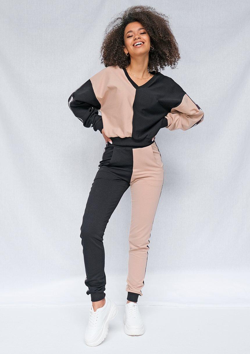 Spodnie dresowe damskie Latte z lampasami black