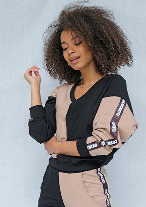 Bluza dresowa damska Latte z lampasami black