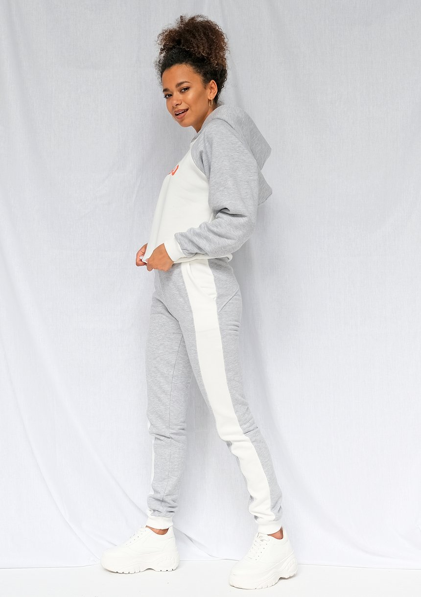 Spodnie dresowe damskie ze wstawką szare