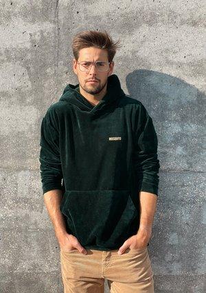 Welurowa bluza z kapturem unisex  Zielona
