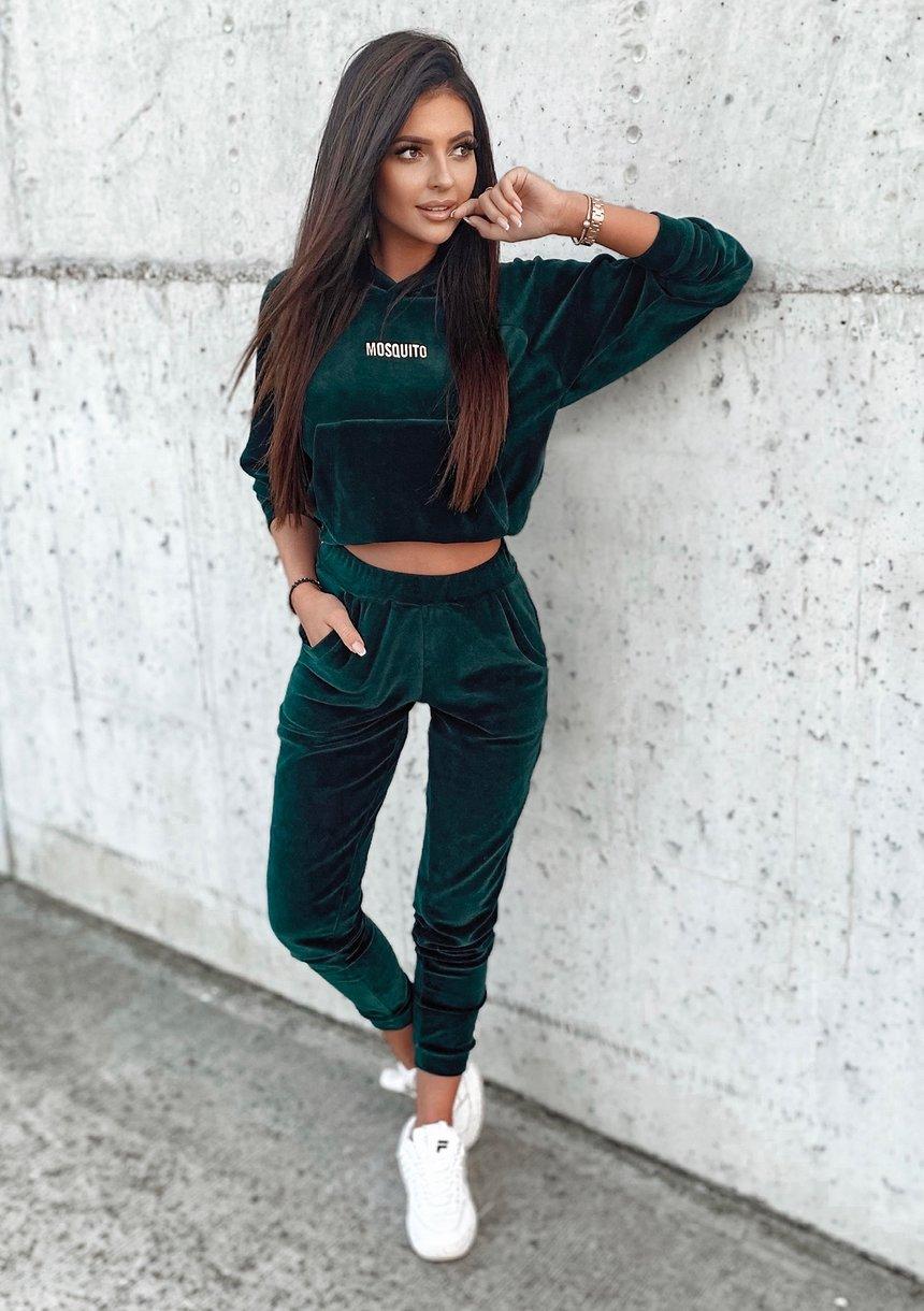 Welurowe spodnie damskie w kolorze zielonym
