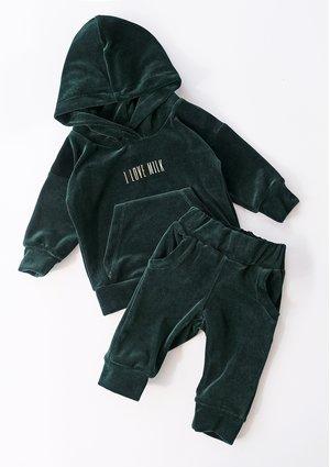 Welurowe spodnie dziecięce w kolorze Zielonym