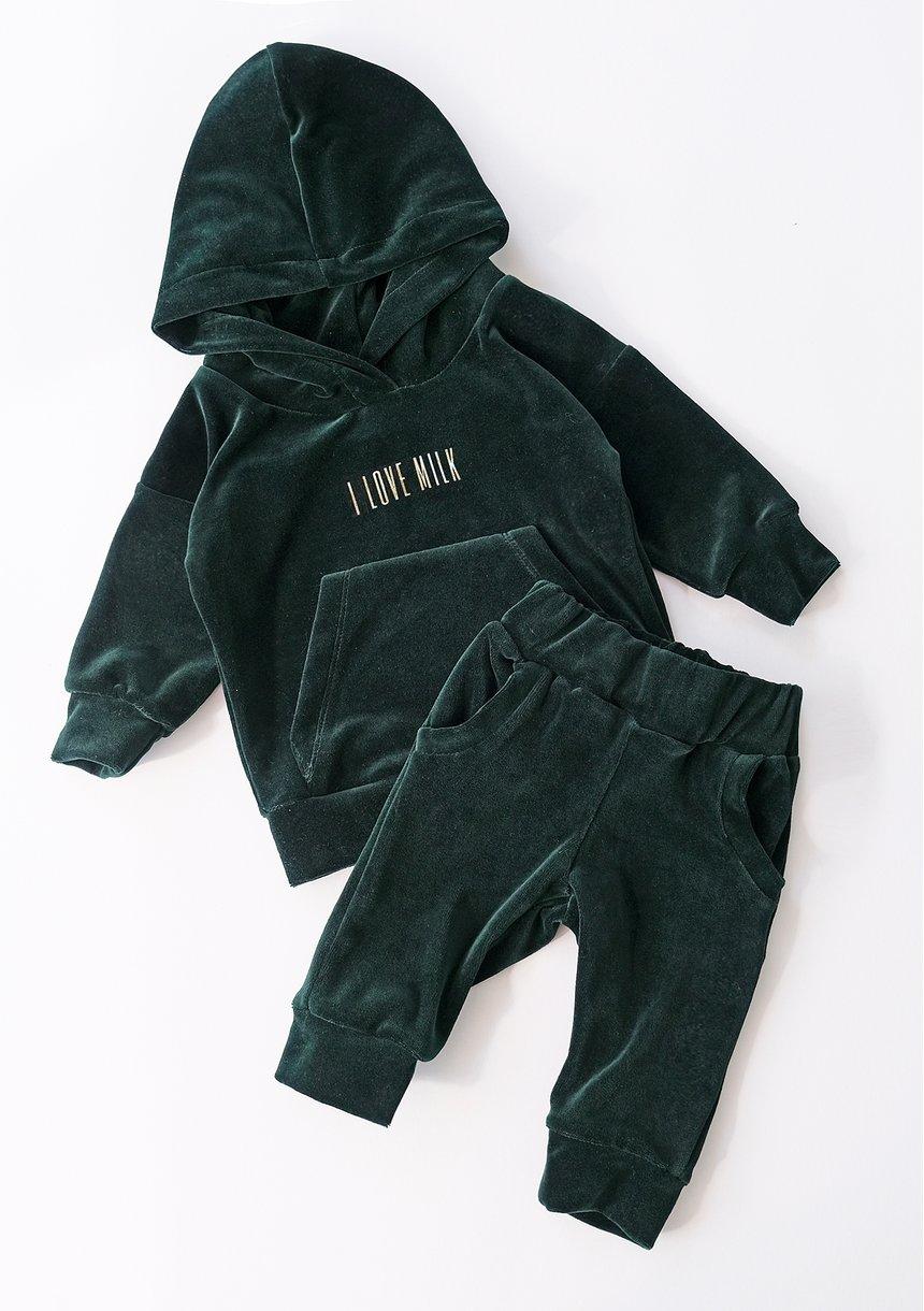 Welurowa bluza dziecięca Zielona