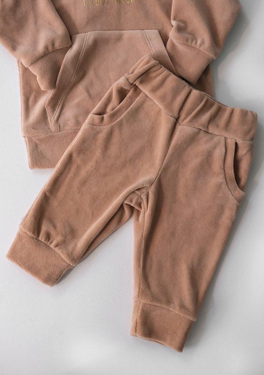 Welurowe spodnie dziecięce w kolorze Beżowym