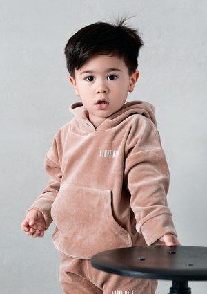 Welurowa dziecięca bluza  z kapturem Coffe