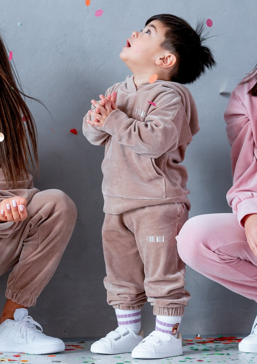 Welurowe spodnie dziecięce Coffe