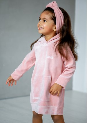 Velvet pastel girls dress Mellow Rose
