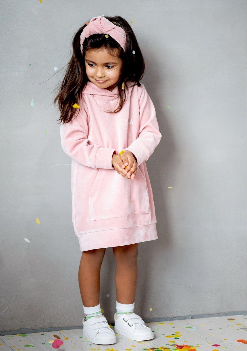 Velvet pastel girls dress Mellow Rose