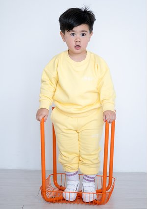 Kids Simple Sweatshirt Sour Yellow