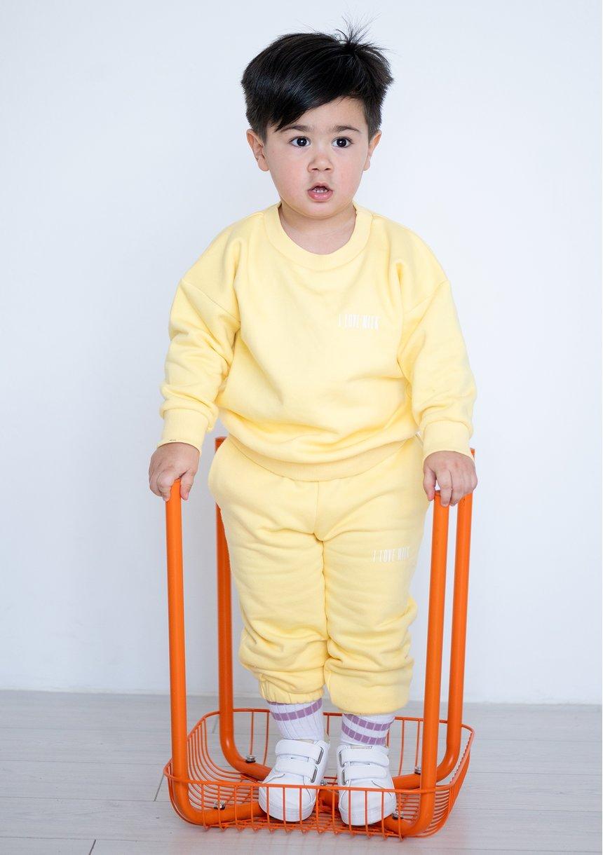 Kids Simple Sweatshirt Sour Yellow