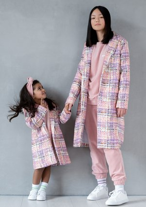 Pastel checker printed mum coat