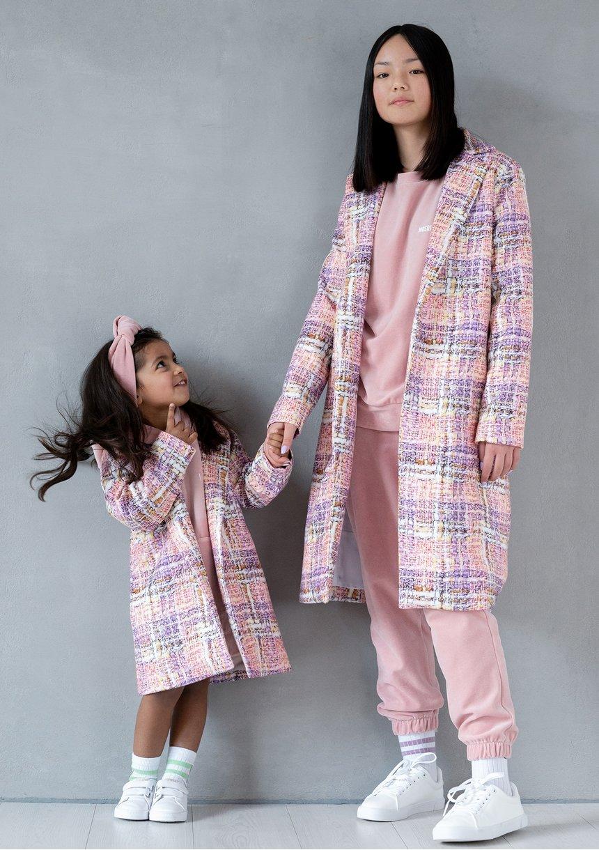 Pastel checker printed mum coat