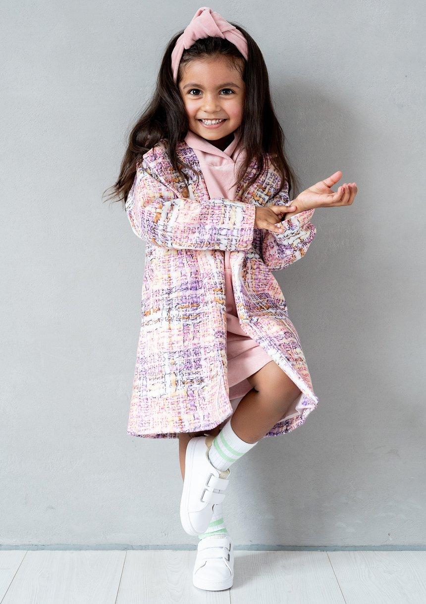 Pastel checker printed girls coat