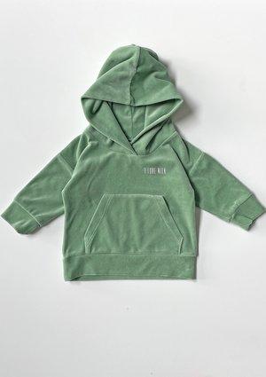 Welurowa dziecięca bluza  z kapturem Smoke Mint