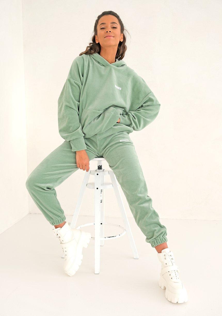 Velvet Women Sweatpants Smoke Mint
