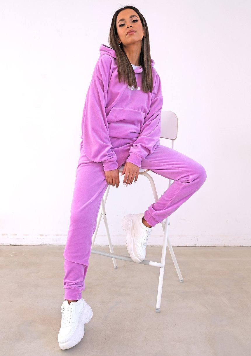 Damskie welurowe spodnie w kolorze Lila