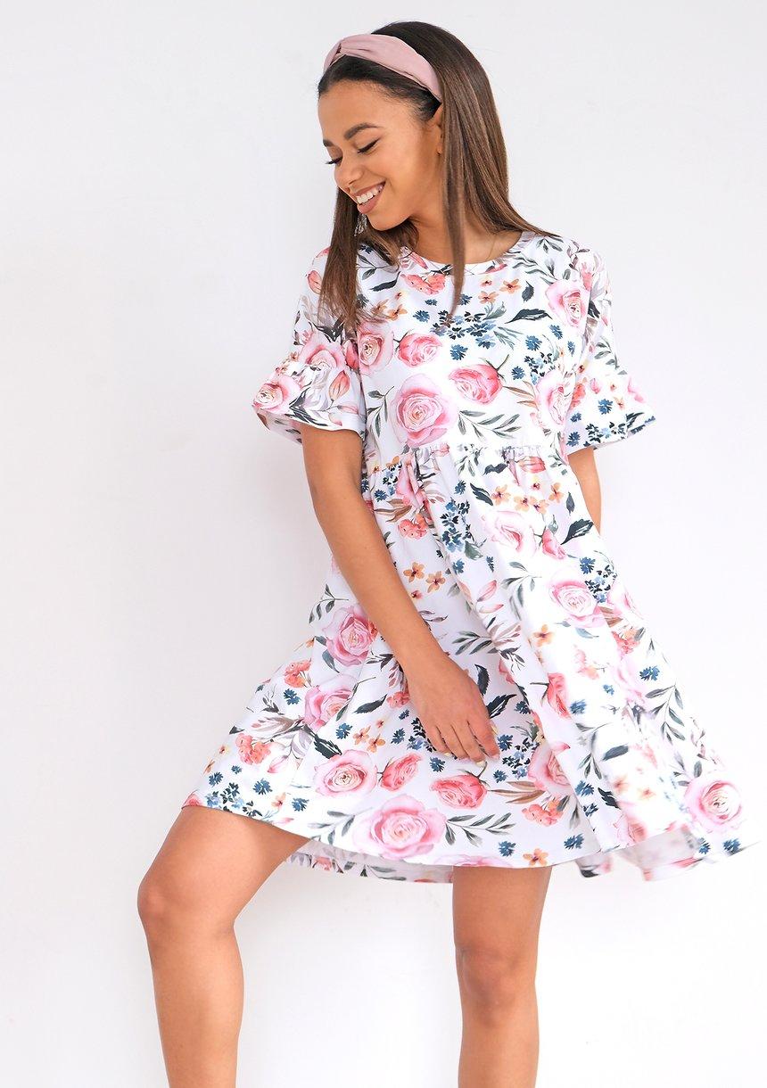 MUM  DRESS IN SPRING FLOWERS PRINT