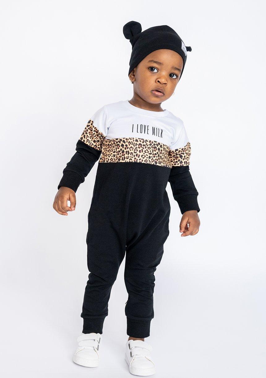 Romper ze wstawką leopard