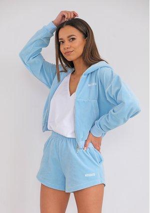 Rozpinana bluza welurowa damska błękitna