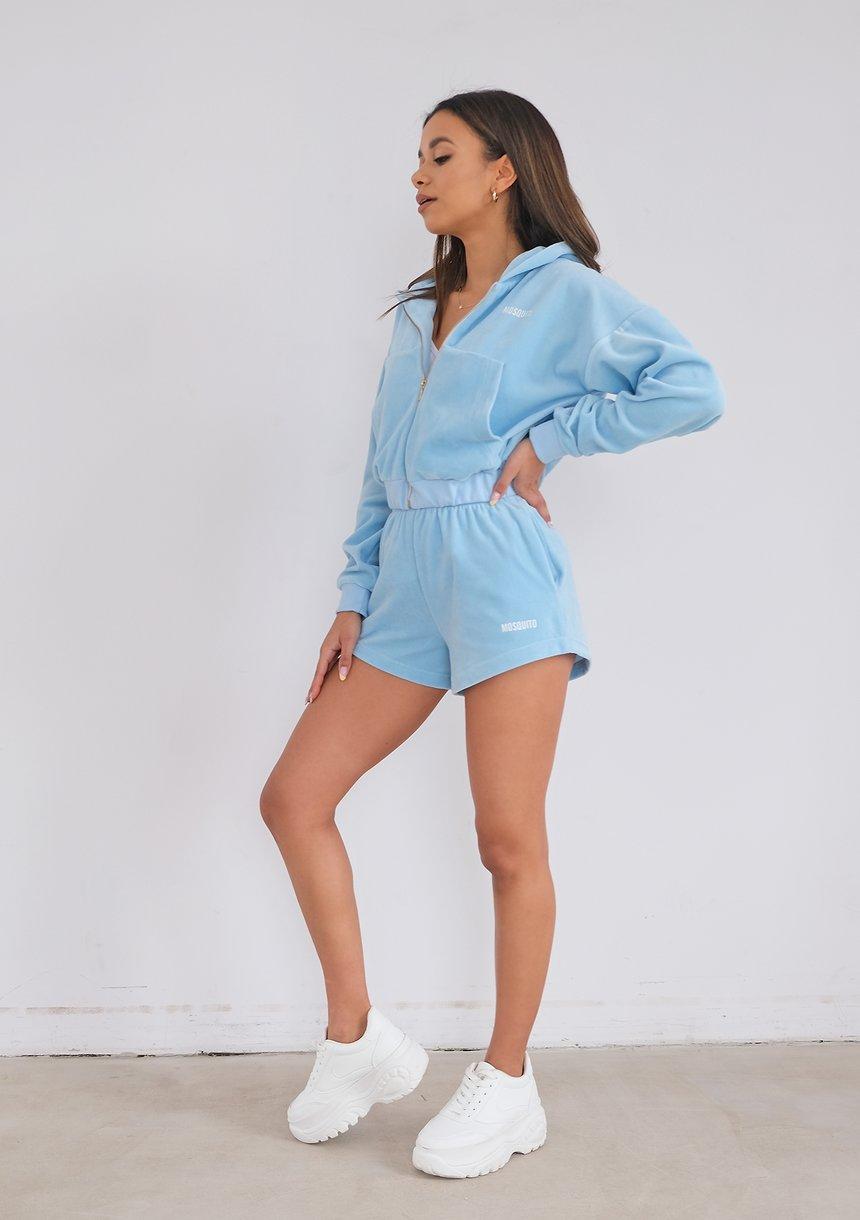 Women light blue velvet shorts