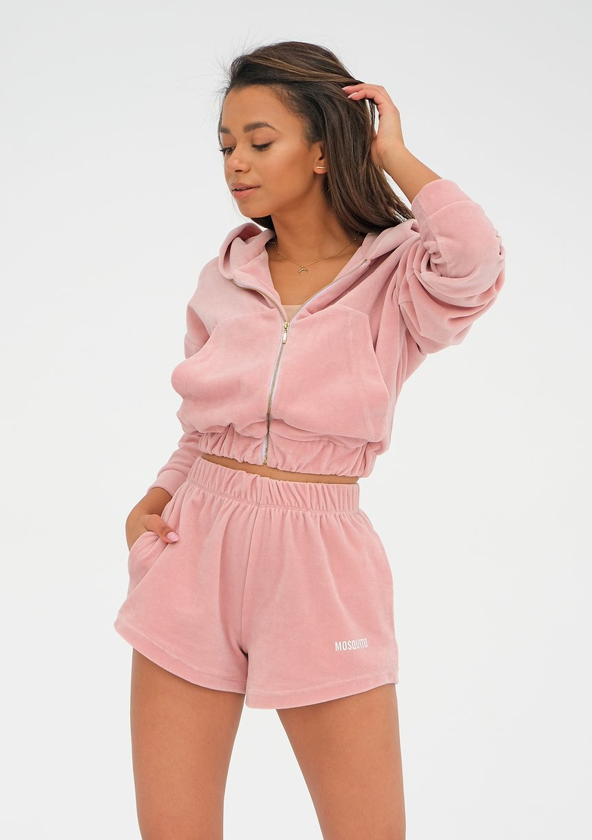 Women velvet sweatshirt with a zipper closure Mellow Rose