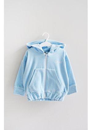 Light blue velvet girls sweatshirt with a zipper closure