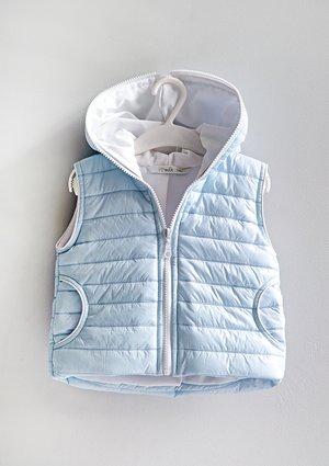 Kids quilted light blue sleeveless jacket