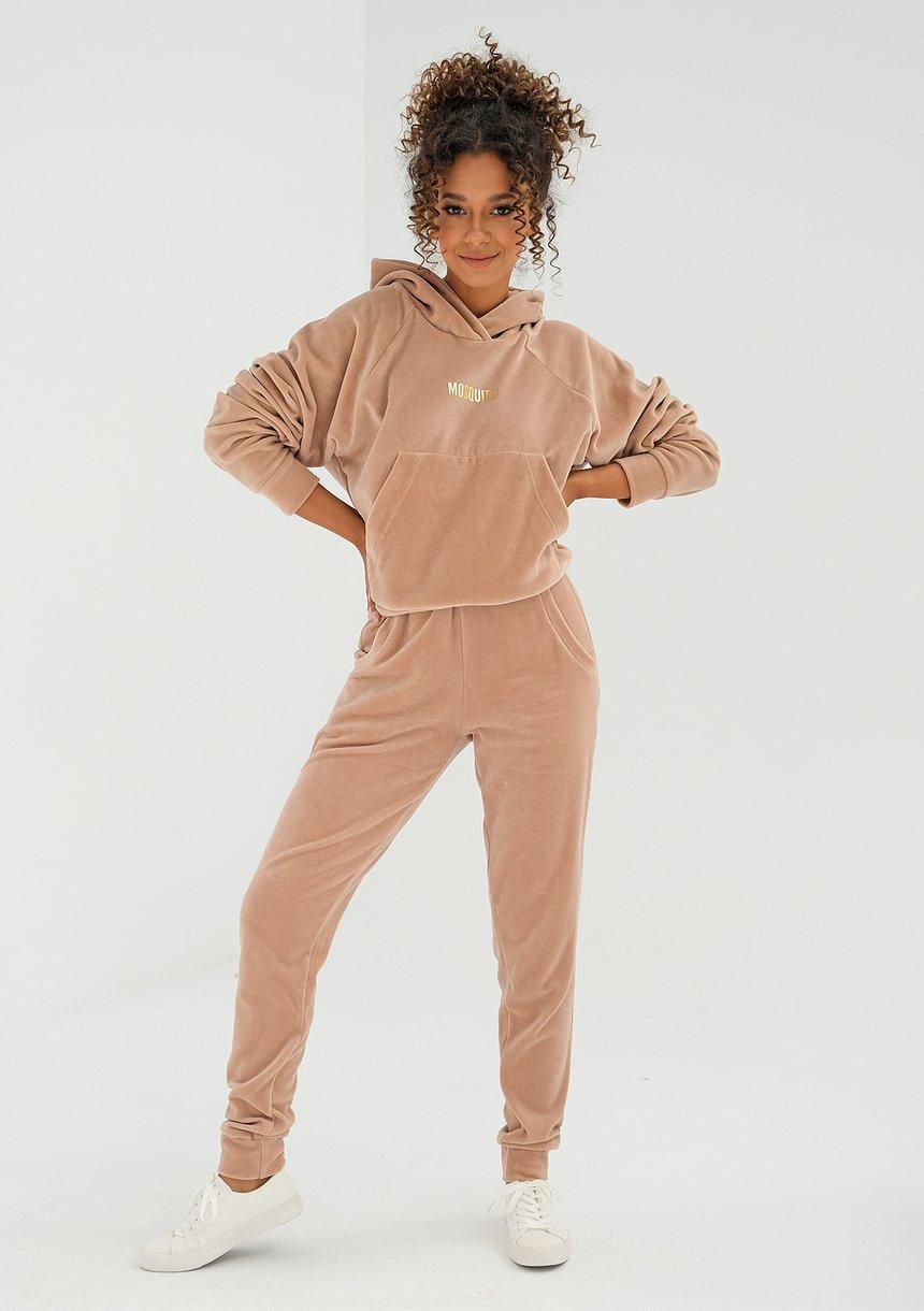 Welurowe spodnie damskie w kolorze Beżowym