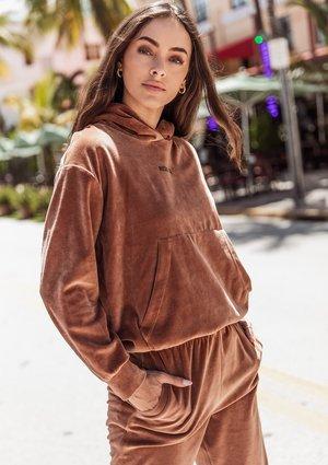 Velvet hoodie Toffee