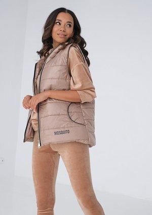 Women's beige quilted sleeveless