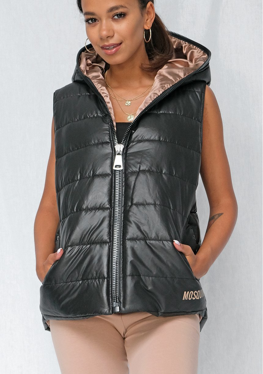 Women's black quilted sleeveless