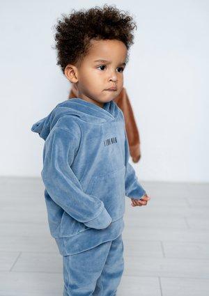 Dziecięca bluza welurowa z kapturem Jeans Blue ILM