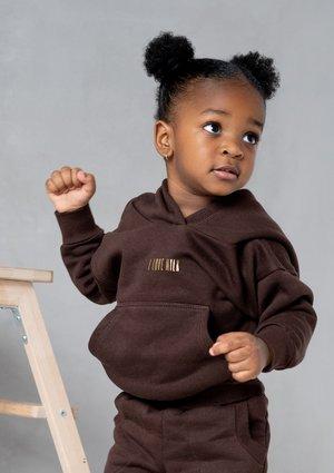 Dziecięca bluza z kapturem Dark Brown ILM