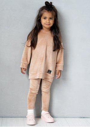 Kids beige velvet leggings