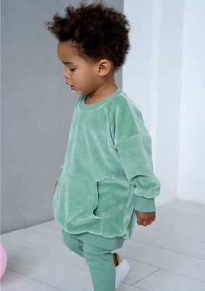 Kids long velvet sweatshirt Smoke Mint